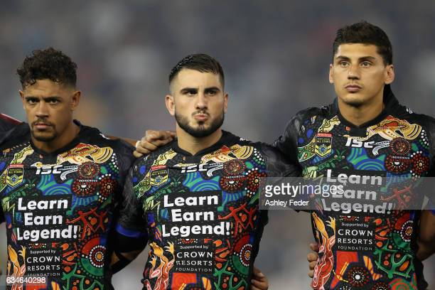 Dane Gagai Jack Bird and Kyle Turner of Indigenous All Stars during the NRL All Stars match between the 2017 Harvey Norman All Stars and the NRL...