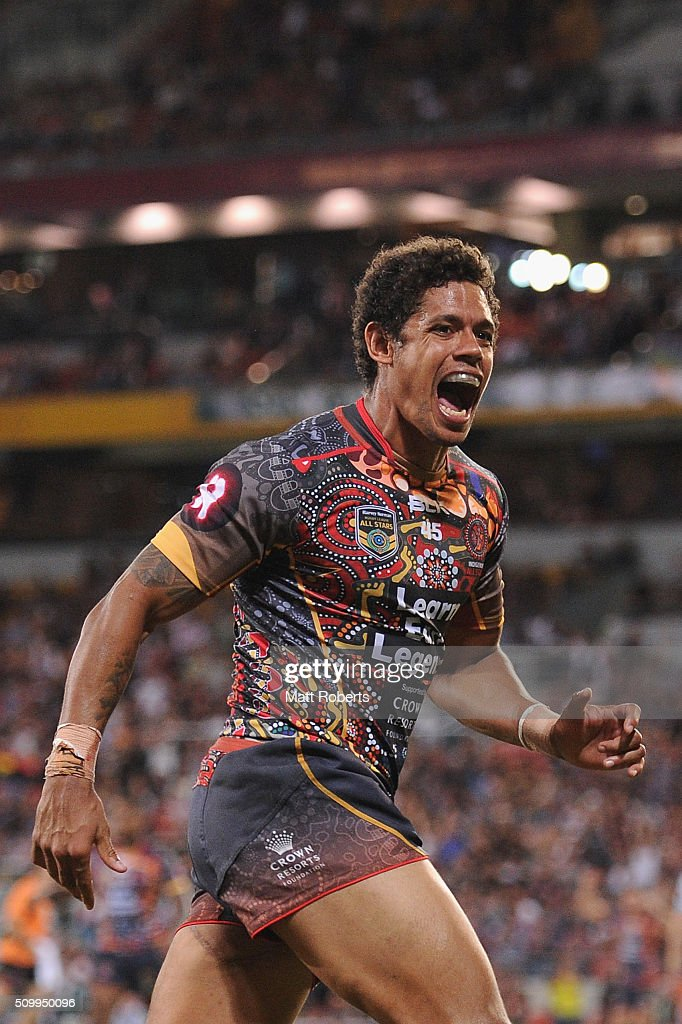 Dane Gagai of the Indigenous All Stars celebrates scoring a try during the NRL match between the Indigenous All-Stars and the World All-Stars at Suncorp Stadium on February 13, 2016 in Brisbane, Australia.