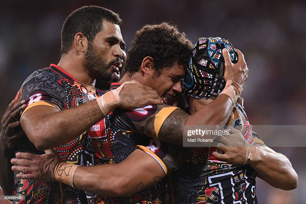 Dane Gagai of the Indigenous All Stars celebrates scoring a try with team mates during the NRL match between the Indigenous All-Stars and the World All-Stars at Suncorp Stadium on February 13, 2016 in Brisbane, Australia.