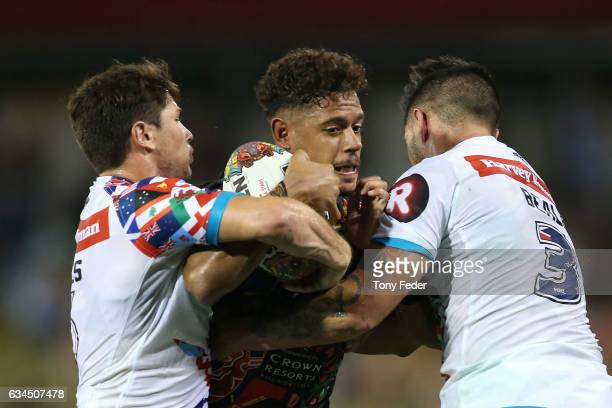 Dane Gagai of the Indigenous All Stars is tackled during the NRL All Stars match between the 2017 Harvey Norman All Stars and the NRL World All Stars...