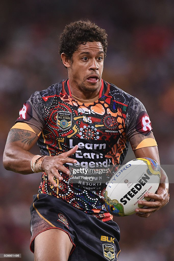 Dane Gagai of the Indigenous All Stars runs with the ball during the NRL match between the Indigenous All-Stars and the World All-Stars at Suncorp Stadium on February 13, 2016 in Brisbane, Australia.