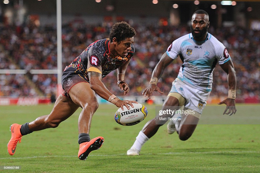 Dane Gagai of the Indigenous All Stars scores a try during the NRL match between the Indigenous All-Stars and the World All-Stars at Suncorp Stadium on February 13, 2016 in Brisbane, Australia.