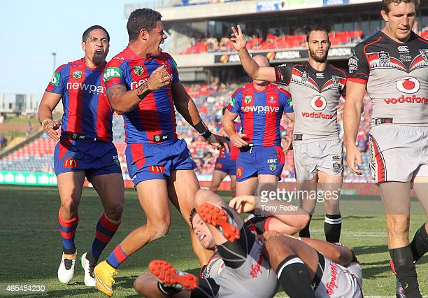 Dane Gagai of the Knights celebrates a try during the round one NRL match between the Newcastle Knights and the New Zealand Warriors at Hunter...