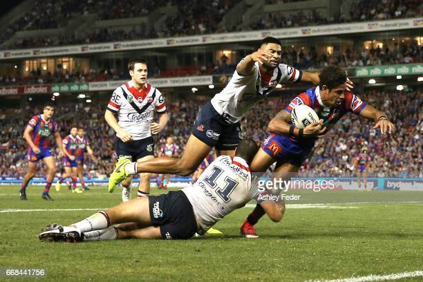 Dane Gagai of the Knights in action during the round seven NRL match between the Newcastle Knights and the Sydney Roosters at McDonald Jones Stadium...
