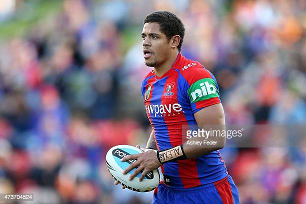 Dane Gagai of the Knights runs the ball during the round 10 NRL match between the Newcastle Knights and the Wests Tigers at Hunter Stadium on May 17...