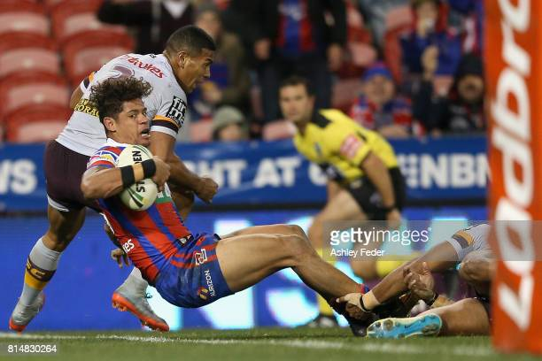 Dane Gagai of the Knights scores a try during the round 19 NRL match between the Newcastle Knights and the Brisbane Broncos at McDonald Jones Stadium...
