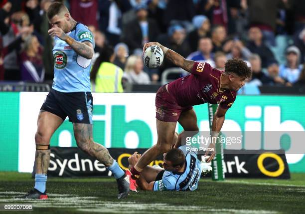 Dane Gagai of the Maroons celebrates after scoring a try during game two of the State Of Origin series between the New South Wales Blues and the...