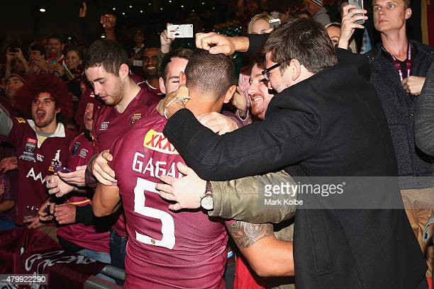 Dane Gagai of the Maroons celebrates with the crowd after victroy in game three of the State of Origin series between the Queensland Maroons and the...
