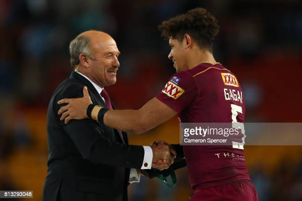 Dane Gagai of the Maroons is congratulated by Wally Lewis after game three of the State Of Origin series between the Queensland Maroons and the New...
