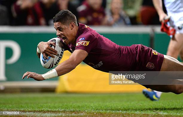 Dane Gagai of the Maroons scores a try during game three of the State of Origin series between the Queensland Maroons and the New South Wales Blues...