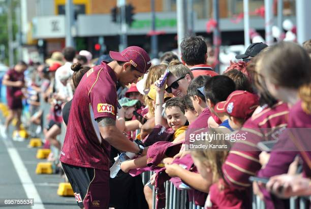 Dane Gagai signs autographs for fans during a Queensland Maroons State of Origin fan day on June 14 2017 in Mackay Australia