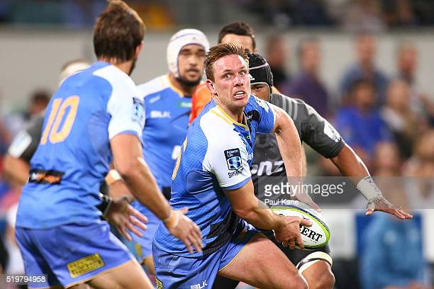 Dane HallettPetty of the Force looks to pass the ball during the round seven Super Rugby match between the Force and the Crusaders at nib Stadium on...