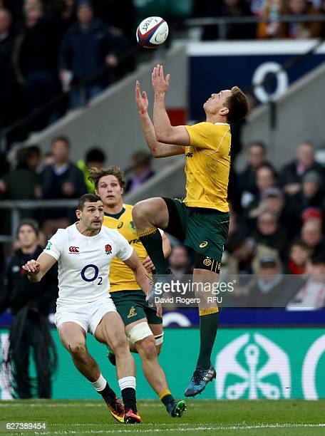 Dane HaylettPetty of Australia claims a high ball during the Old Mutual Wealth Series match between England and Australia at Twickenham Stadium on...
