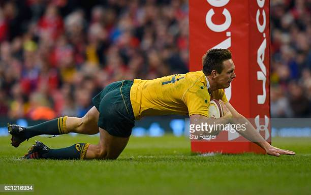 Dane HaylettPetty of Australia scores a breakaway fifth try for his team during the international match between Wales and Australia at the...