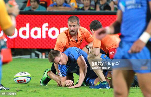 Dane HaylettPetty of Force is injured during the round nine Super Rugby match between the Force and the Chiefs at nib Stadium on April 22 2017 in...