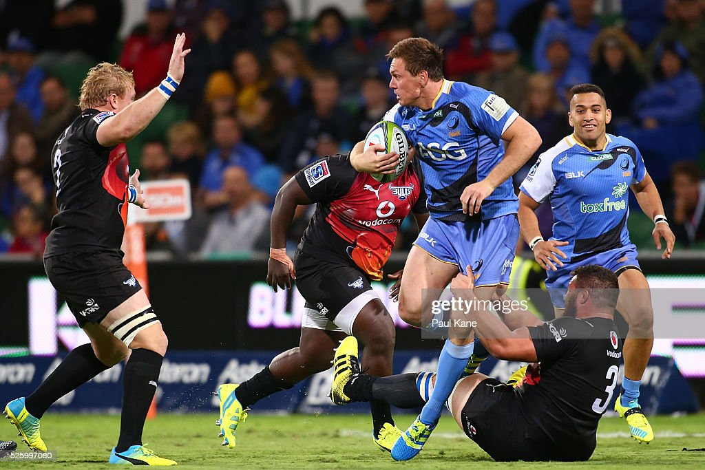 Dane Haylett-Petty of the Force attempts to break from a tackle during the round 10 Super Rugby match between the Force and the Bulls at nib Stadium on April 29, 2016 in Perth, Australia.