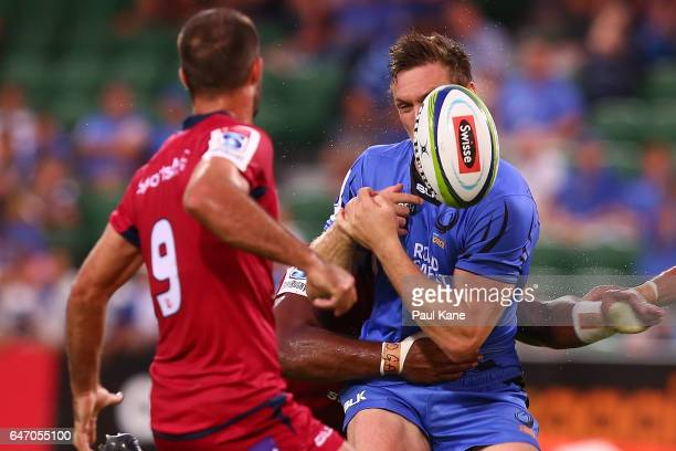 Dane HaylettPetty of the Force drops the ball during the round two Super Rugby match between the Western Force and the Reds at nib Stadium on March 2...