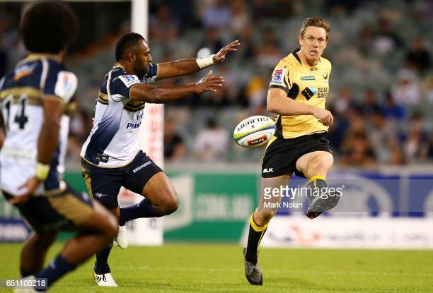 Dane HaylettPetty of the Force kicks ahead during the round three Super Rugby match between the Brumbies and the Force at GIO Stadium on March 10...