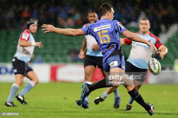 Dane HaylettPetty of the Force kicks the ball during the round 17 Super Rugby match between the Force and the Waratahs at nib Stadium on July 15 2017...