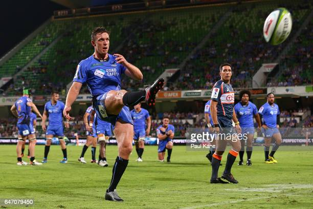 Dane HaylettPetty of the Force kicks the ball into touch during the round two Super Rugby match between the Western Force and the Reds at nib Stadium...