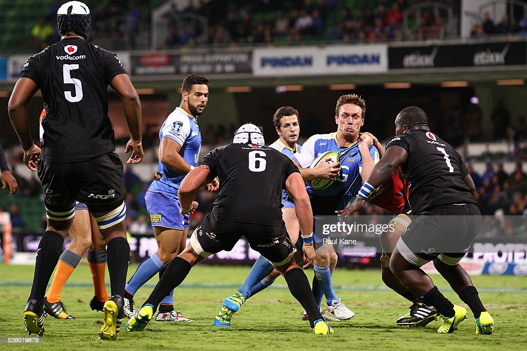 Dane Haylett-Petty of the Force looks to break thru the Bulls line during the round 10 Super Rugby match between the Force and the Bulls at nib Stadium on April 29, 2016 in Perth, Australia.