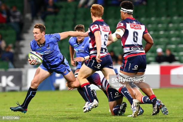 Dane HaylettPetty of the Force runs the ball during the round 16 Super Rugby match between the Force and the Rebels at nib Stadium on July 7 2017 in...