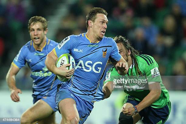 Dane HaylettPetty of the Force runs with the ball during the Super Rugby round 15 match between the Force and the Highlanders at nib Stadium on May...
