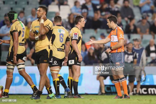 Dane HaylettPetty of the Force speaks to the referee Ben O'Keefe during the round one Super Rugby match between the Waratahs and the Force at Allianz...