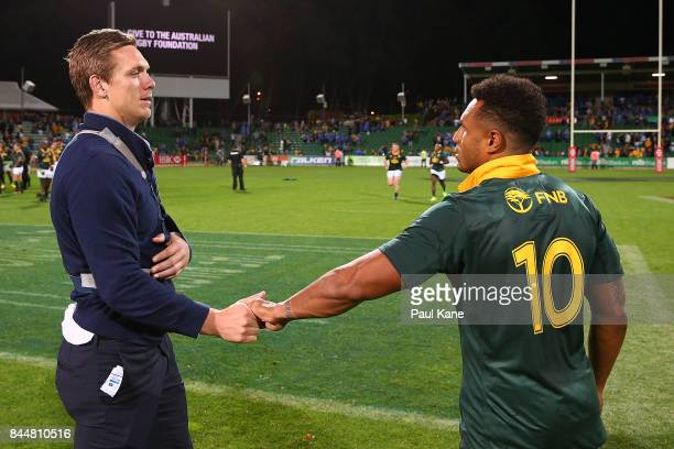 Dane HaylettPetty of the Wallabies acknowledges Will Genia after The Rugby Championship match between the Australian Wallabies and the South Africa...