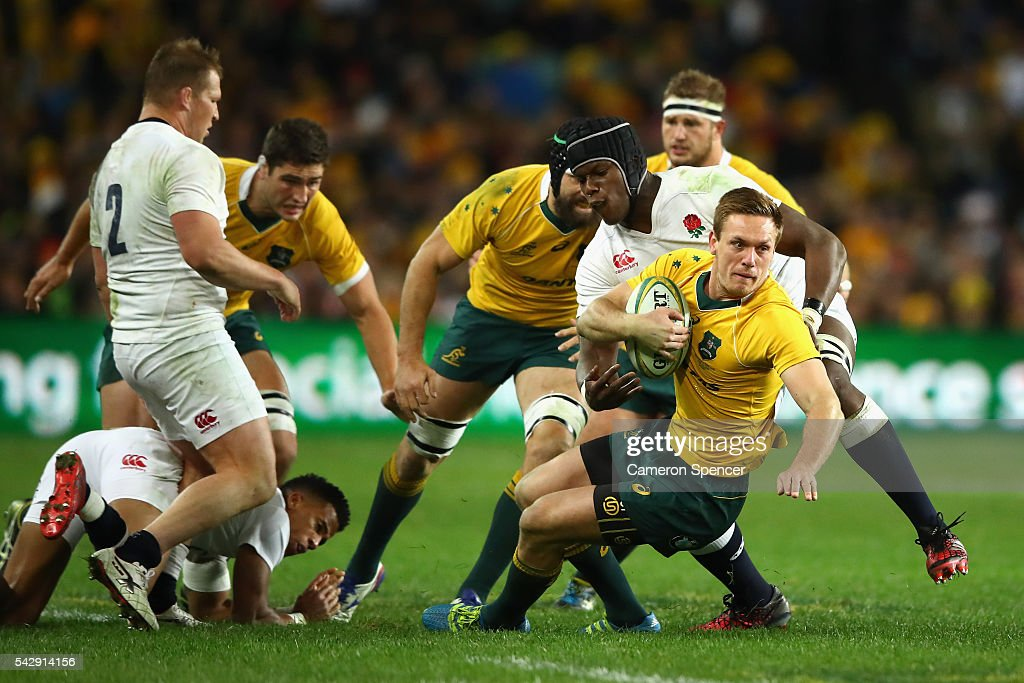 Dane Haylett-Petty of the Wallabies is tackled during the International Test match between the Australian Wallabies and England at Allianz Stadium on June 25, 2016 in Sydney, Australia.