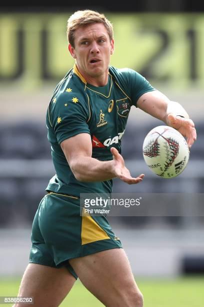 Dane HaylettPetty of the Wallabies passes during an Australia Wallabies Captain's Run at Forsyth Barr Stadium on August 25 2017 in Dunedin New Zealand