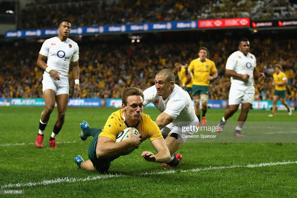 Dane Haylett-Petty of the Wallabies scores a try during the International Test match between the Australian Wallabies and England at Allianz Stadium on June 25, 2016 in Sydney, Australia.