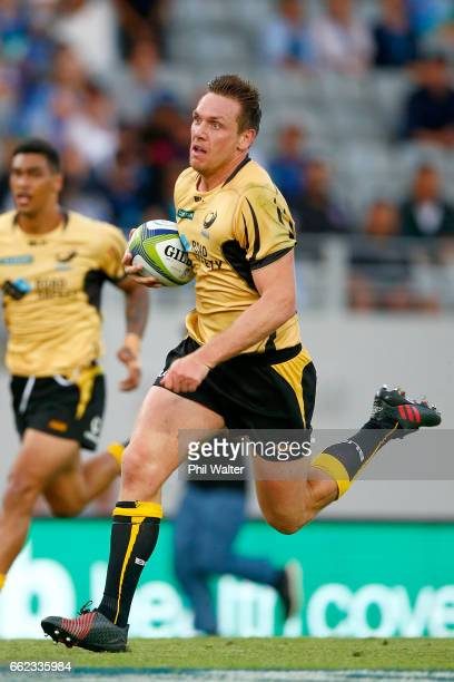 Dane HaylettPetty of the Western Force on his way to scoring a try during the round six Super Rugby match between the Blues and the Force at Eden...