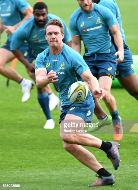 Dane HaylettPetty passes the ball during an Australian Wallabies training session at Ballymore Stadium on June 20 2017 in Brisbane Australia
