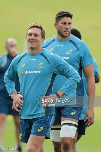 Dane HaylettPetty smiles during an Australian Wallabies training session at McGillivray Oval on September 4 2017 in Perth Australia