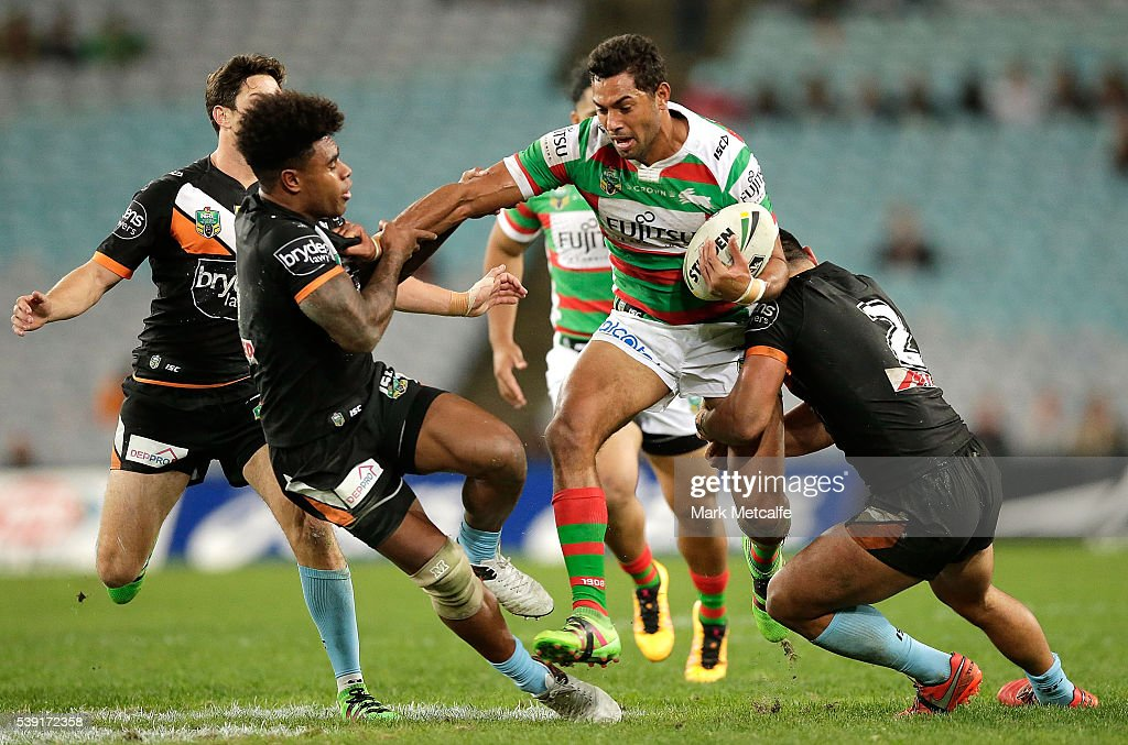 Dane Nielsen of the Rabbitohs is tackled during the round 14 NRL match between the Wests Tigers and the South Sydney Rabbitohs at ANZ Stadium on June 10, 2016 in Sydney, Australia.