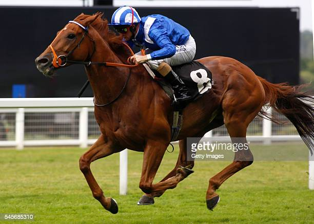 Dane O' Neill riding Mutakayyef wins The Fred Cowley MBE Memorial Summer Mile Stakes Race run at Ascot Racecourse on July 9 2016 in Ascot England