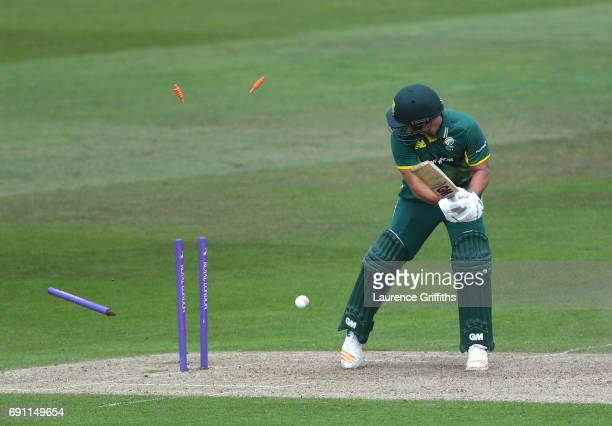 Dane Patterson of South Africa A is bowled by Sam Curran of England Lions during the One Day International match between England Lions and...