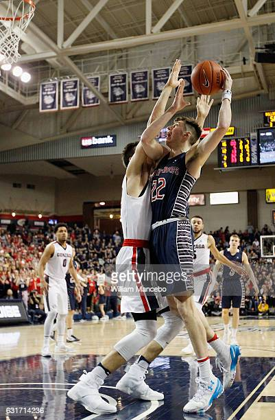 Dane Pineau of the Saint Mary's Gaels looks to shoot against Zach Collins of the Gonzaga Bulldogs in the second half at McCarthey Athletic Center on...