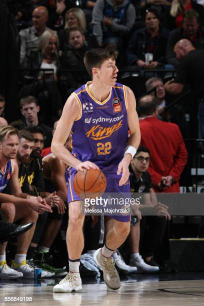 Dane Pineau of the Sydney Kings handles the ball against the Utah Jazz during a preseason game on October 2 2017 at vivintSmartHome Arena in Salt...