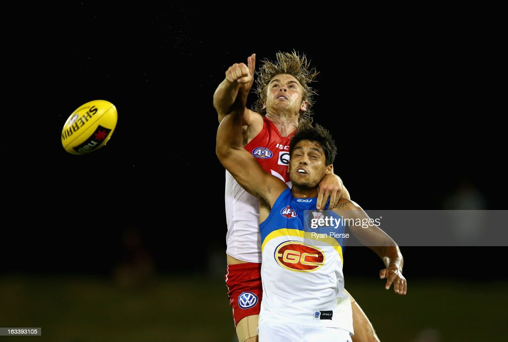 Dane Ramp of the Swans spoils Aaron Hall of the Suns during the round three NAB Cup AFL match between the Sydney Swans and the Gold Coast Suns at Blacktown International Sportspark on March 9, 2013 in Sydney, Australia.