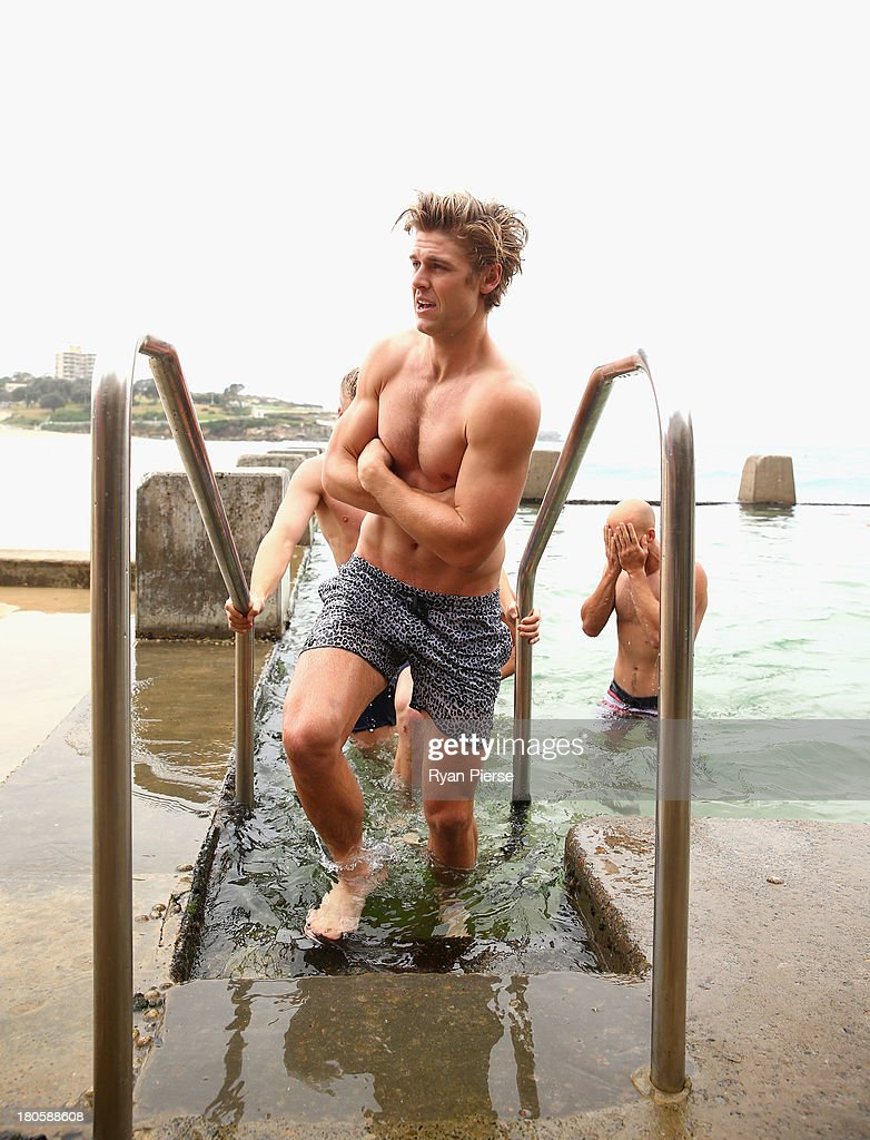 Dane Rampe of the Swans swims during a recovery session at Coogee Beach on September 15, 2013 in Sydney, Australia.