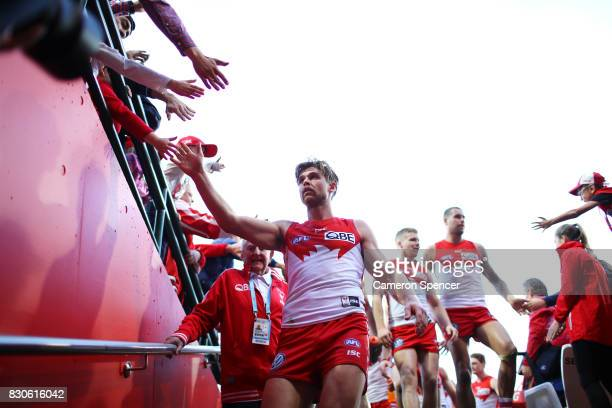 Dane Rampe of the Swans thanks fans after winning the round 21 AFL match between the Sydney Swans and the Fremantle Dockers at Sydney Cricket Ground...