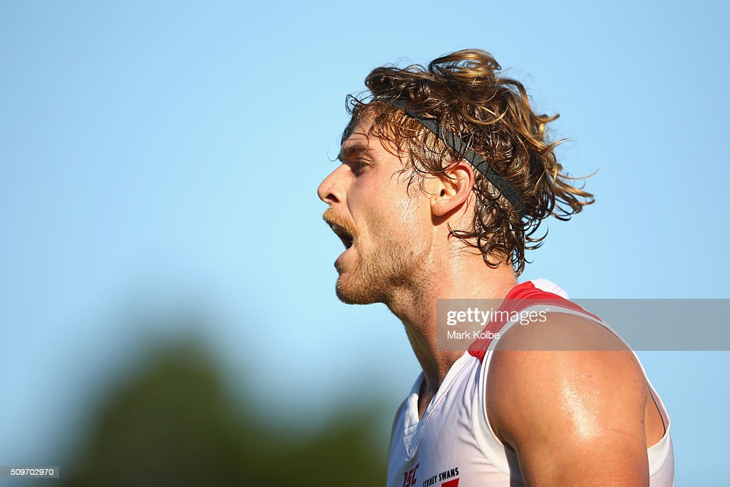 Dane Rampe of the White Team calls instructions during the Sydney Swans AFL intra-club match at Henson Park on February 12, 2016 in Sydney, Australia.