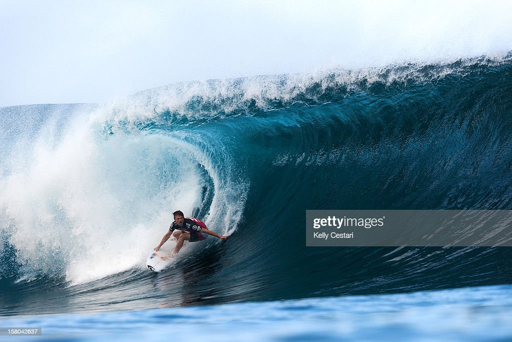 Dane Reynolds of the United States advanced to Round 5 of the Billabong Pipe Masters at Pipeline on December 9, 2012 in North Shore, United States.