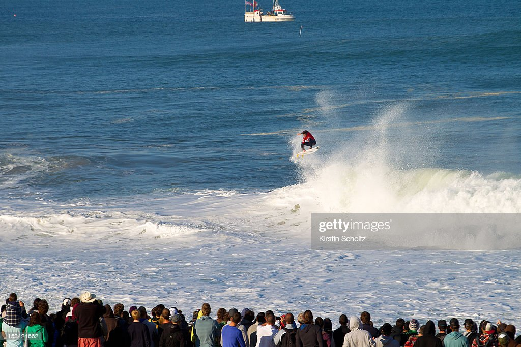 Dane Reynolds of the United States of America performs an aerial manuever for the crowd on October 5, 2012 in Hossegor, France.
