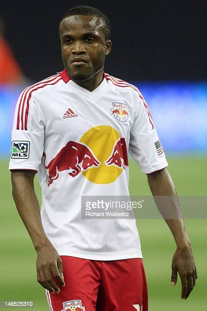 Dane Richards of the New York Red Bulls watches play during the MLS match against the Montreal Impact at the Olympic Stadium on May 19 2012 in...