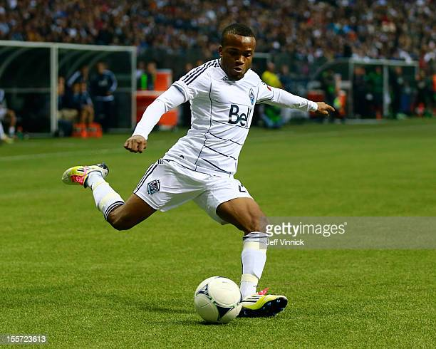 Dane Richards of the Vancouver Whitecaps FC kicks the ball during their MLS game against the Portland Timbers October 21 2012 at BC Place in...