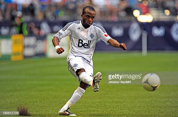 Dane Richards of the Vancouver Whitecaps kicks the ball durning his game against Real Salt Lake at BC Place on August 11 2012 in Vancouver British...
