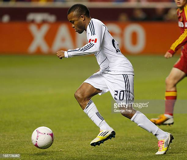 Dane Richards of Vancouver Whitecaps kicks the ball down field during a game against Real Salt Lake during the first half of an MLS soccer game...